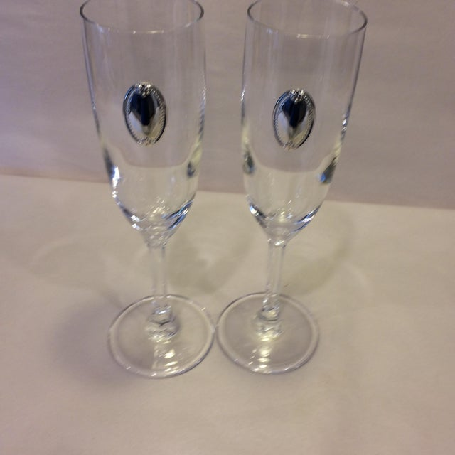 Valenti Vintage Crystal Flutes - A Pair For Sale - Image 9 of 11