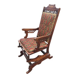1920s Traditional Damask Upholstered Wooden Rocking Chair