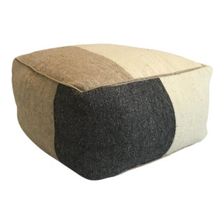 Boho Chic Moroccan Gray and Cream Wool Pouf