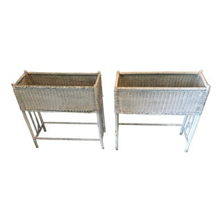 Victorian White Wicker Planters - a Pair For Sale