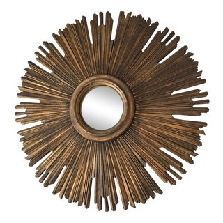 Antique Italian Sunburst Wall Decor Gilt Wood Mirror. For Sale