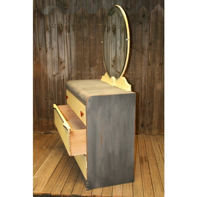 Vintage Distressed Art Deco Waterfall Dresser & Mirror - Image 10 of 11