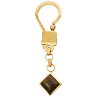 Judith Leiber Tigers Eye and Gold Plated Key Chain For Sale