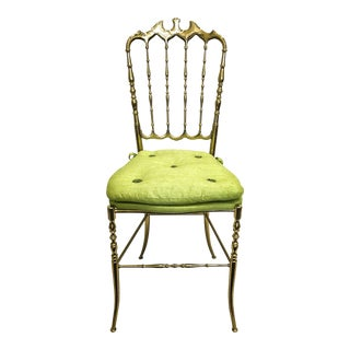 Vintage Brass Chiavari Chair With Citrus Green Silk Cushion For Sale