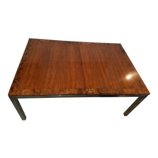 Milo Baughman Style Burlwood & Chrome Dining Table