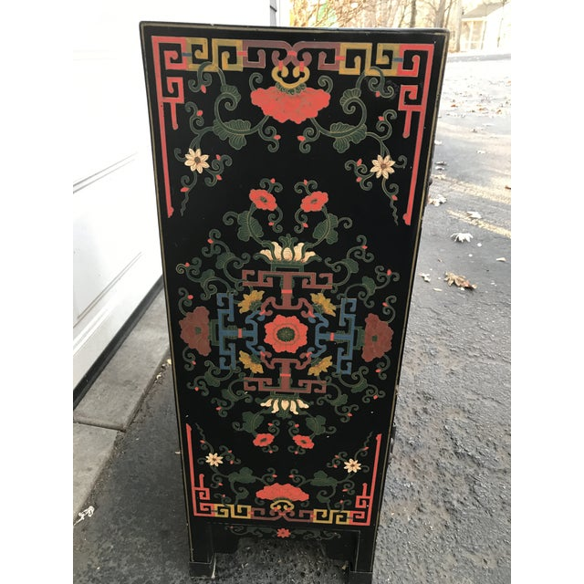 Yellow Hand Painted Chinoiserie Cabinet For Sale - Image 8 of 10