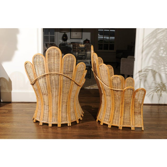 1980s Majestic Restored Pair of Vintage Rattan and Wicker Palm Frond Club Chairs For Sale - Image 5 of 11