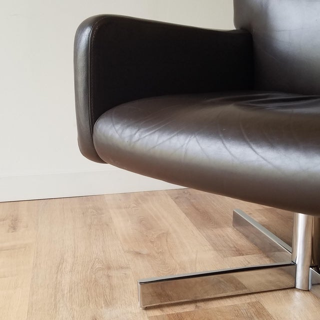 1980s Leather Swivel Reclining Chairs - a Pair For Sale - Image 10 of 12