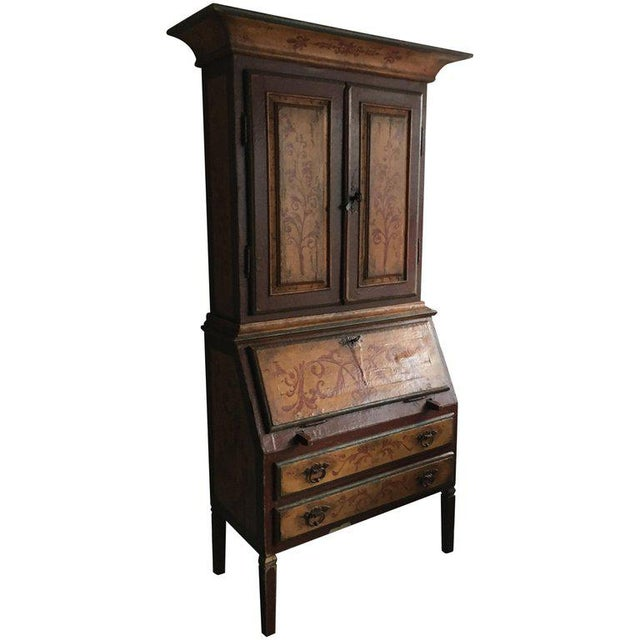 19th Century Italian Bureau Bookcase, Two Doors Over Slant Front Fitted Desk For Sale - Image 5 of 5