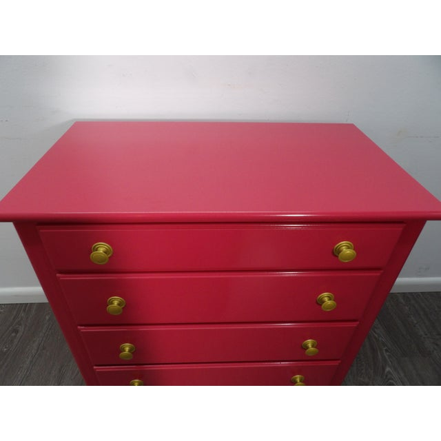 "Contemporary Vintage Four Drawer Chest in Fresh New ""Sherbet Pink"" Lacquer For Sale - Image 3 of 5"