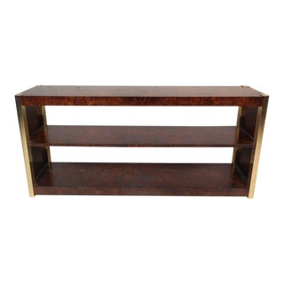 Vintage Modern Burl and Brass Console Table