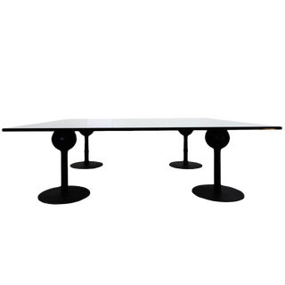 Black Modern Metal and Glass Coffee Table For Sale