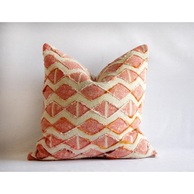 "New coral color diamond silk embroidery pillow covers Measures: 20"" x 20"" Backing is a cotton with hidden zipper closure...."