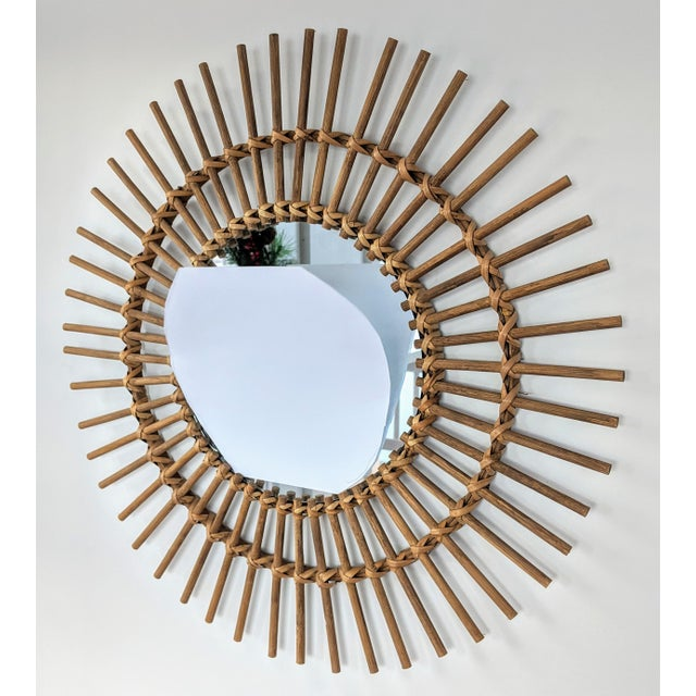 Boho Chic Boho Chic Rattan and Wooden Starburst Mirror For Sale - Image 3 of 9