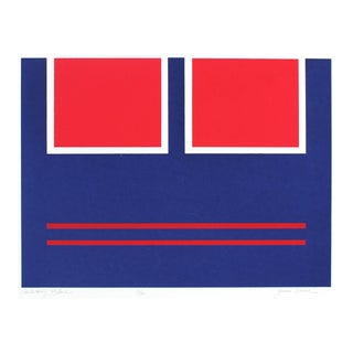 """""""Military Blue"""" Geometric Abstract Serigraph, Circa 1978 For Sale"""