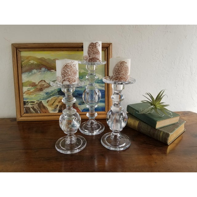 Transparent William Sonoma Glass Baluster Pillar Candle Candlesticks - Set of 3 For Sale - Image 8 of 9