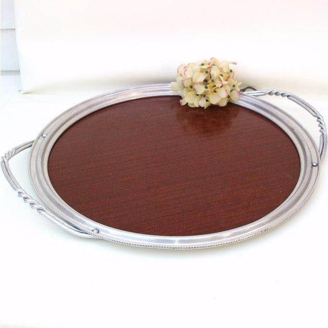 Aluminum & Faux Wood Bar Tray Serving Platter - Image 6 of 7