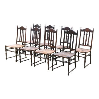 Vintage Bannister Back Chairs- Set of 8 For Sale