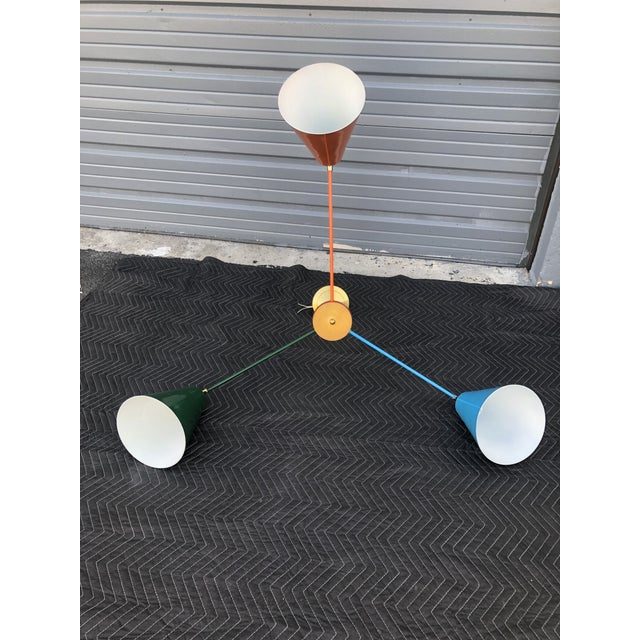 1970s Orange Blue and Green Multicolor Ceiling Light For Sale - Image 5 of 7
