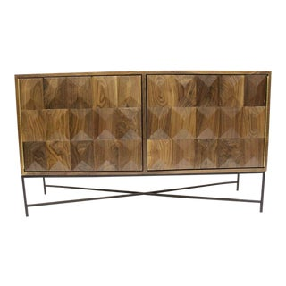 Modern Cubist Credenza With Metal Base