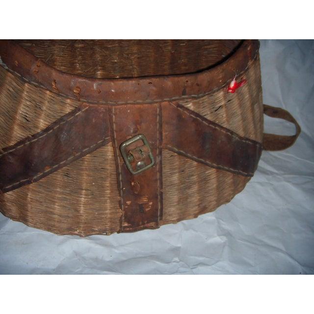 Vintage Wicker Fishing Creel Basket - Image 3 of 5