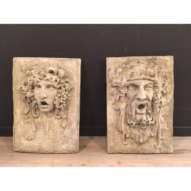 North Wind and Bacchus Cement Garden Plaques For Sale In New York - Image 6 of 7