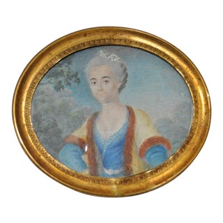 19th C. Miniature Portrait Older Woman With Gray Hair and Pearls Painting For Sale