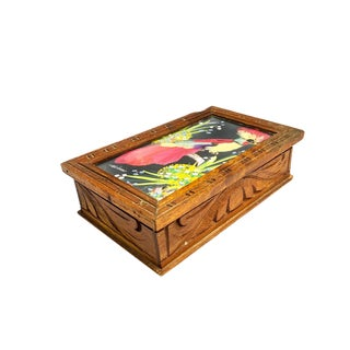 1960s Vintage Handmade Mexican Feather Art Wooden Box For Sale