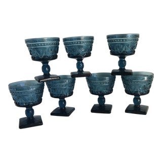 Midcentury Indigo Blue Stemware, Set of Seven For Sale