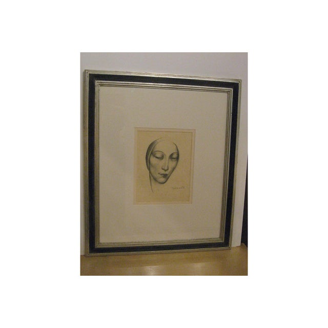 Enzo Baccante Art Deco Pencil Portrait - Image 2 of 6