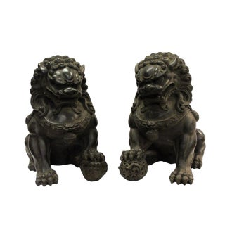 Pair Chinese Distressed Brown Black Marble Like Fengshui Foo Dogs For Sale