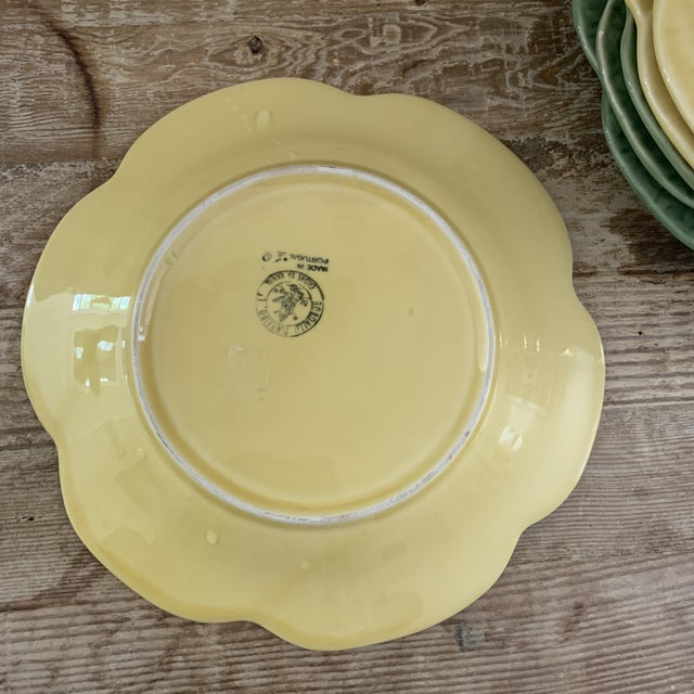 Bordallo Pinheiro Yellow and Green Ceramic Cabbage Plates - Set of 6 For Sale - Image 4 of 9