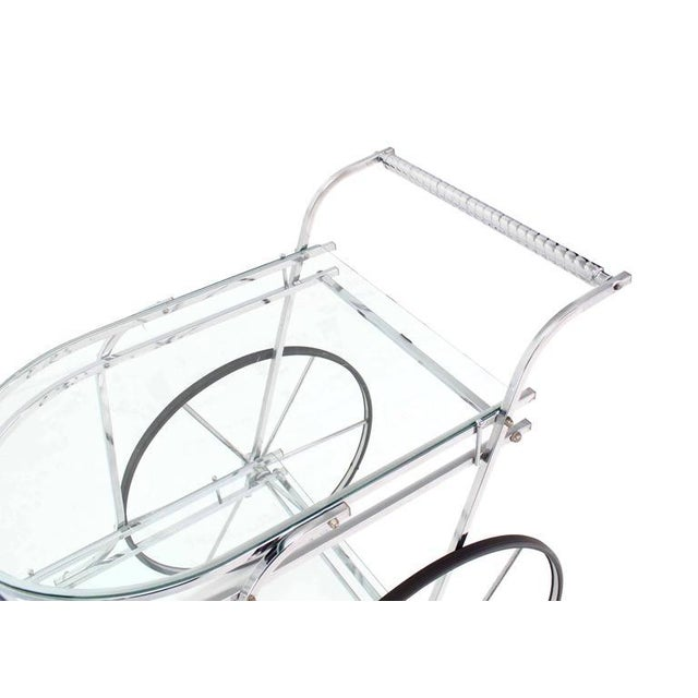 Early 20th Century Large Wheel Design Chrome and Glass Tea Bar Cart For Sale - Image 5 of 7