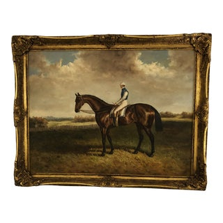Large Original Painting of Jockey on Horse For Sale