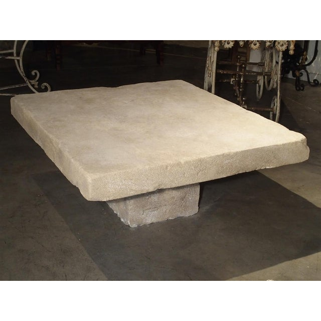 Large Limestone Coffee Table From Provence, France For Sale - Image 4 of 12
