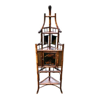19th Century Aesthetic Movement Scorched Bamboo Japanned Etagere For Sale