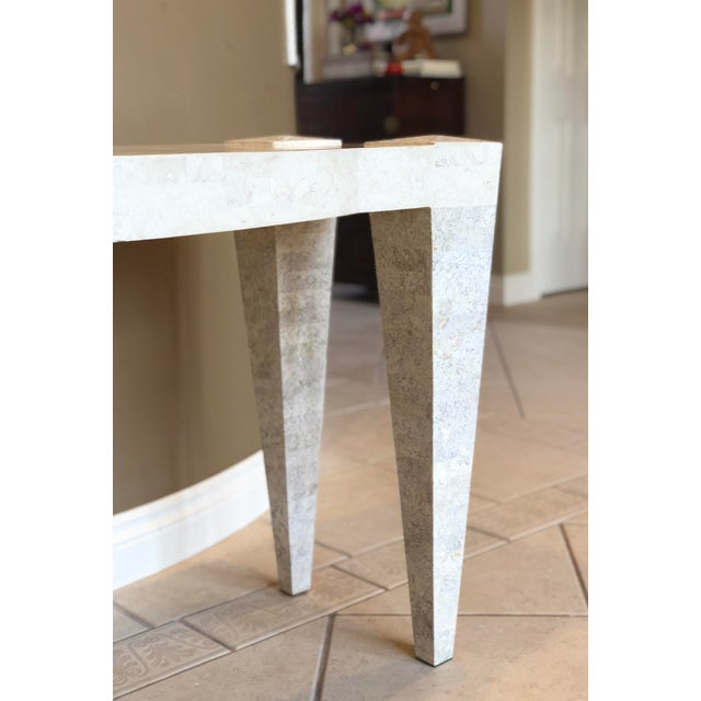 Contemporary 1980s Postmodern White Tessellated Marble Console For Sale - Image 3 of 6