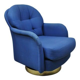 Milo Baughman for Thayer Coggin Swivel Tilt Blue Upholstered Club Lounge Chair For Sale