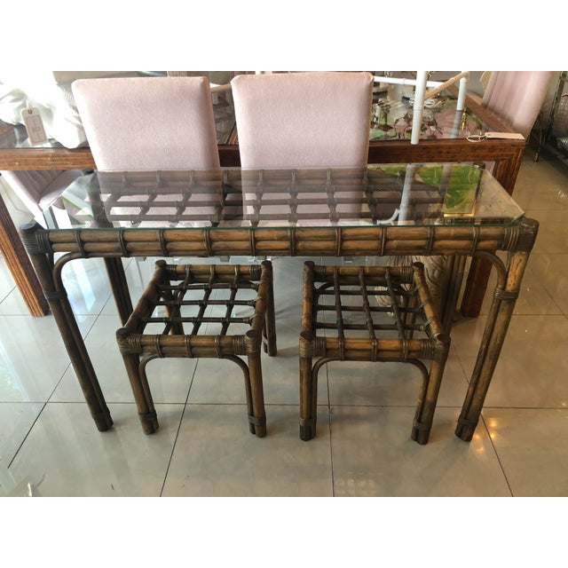 Vintage Tropical Bamboo Rattan Console Table and Benches - 3 Pc. Set For Sale - Image 13 of 13