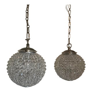 Contemporary Drop Pendant Globe Lighting - a Pair For Sale
