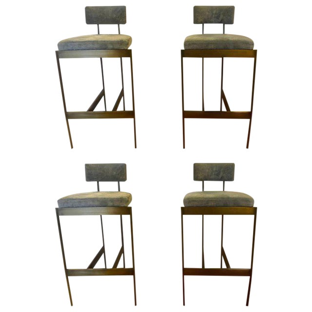 Set of Four Powell and Bonnell 'Alto' Suede Bar Stools For Sale - Image 14 of 14