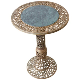 Chinese Reticulated Brass and Marble Top Drink Table For Sale