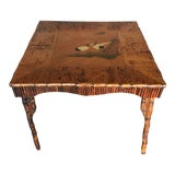 Image of 1980s Vintage Rattan Table With Japonisme Style Painting For Sale