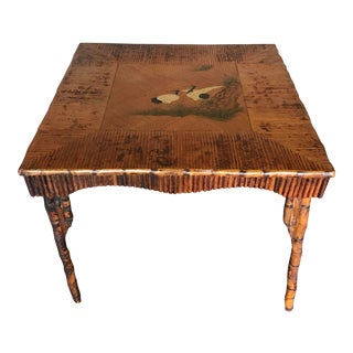 1980s Vintage Rattan Table With Japonisme Style Painting For Sale