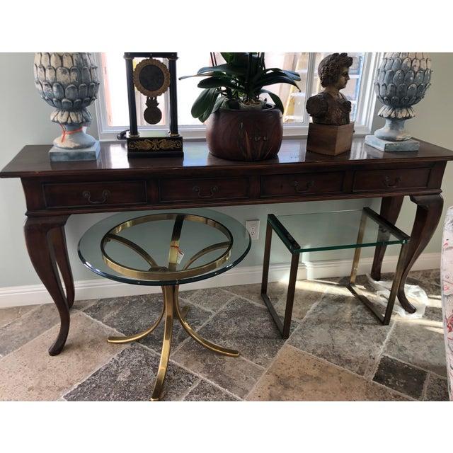 Wood Paul Ferrante Italian Walnut Console Table For Sale - Image 7 of 7
