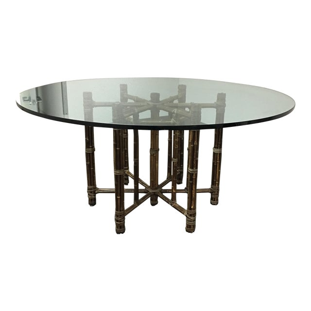 McGuire Bamboo & Glass Dining Table - Image 1 of 8