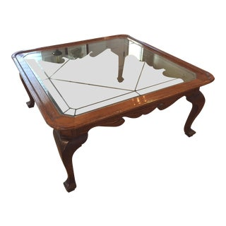 Ethan Allen Canterbury Oak & Glass Coffee Table For Sale