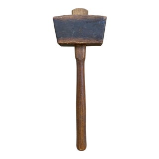 Antique Hand Forged Wooden Mallet For Sale