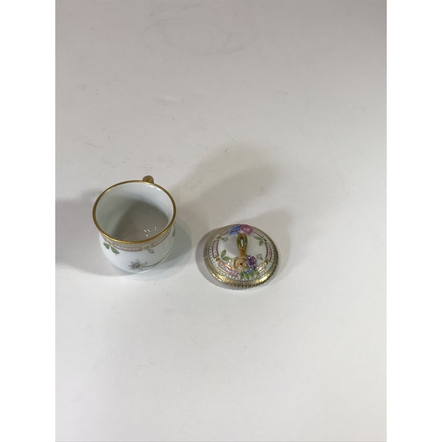 Royal Copenhagen Flora Danica Demitasse With Lid and Saucer Butter Cup For Sale - Image 10 of 13