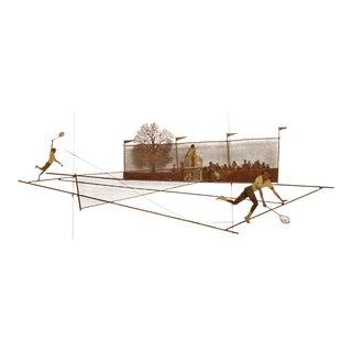 Bijan Modernist Metal Wall Sculpture of Men Playing Tennis For Sale